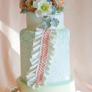 Pastel Ruffles wedding cake