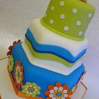 Colourful Contemporary Owl Wedding Cake