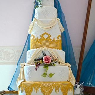 Cake and royal icing sugarveil, for  Impero Couture