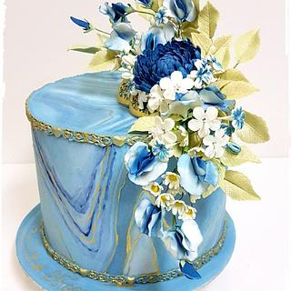 Floral Blue and Gold marble cake