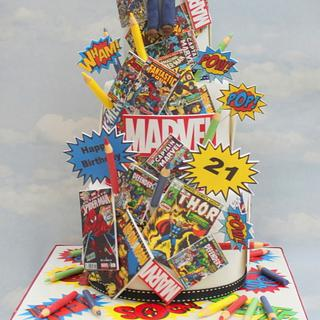 Super hero comic book cake
