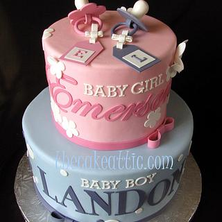 Pink and blue baby shower cake