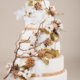 Beautiful cake with cotton
