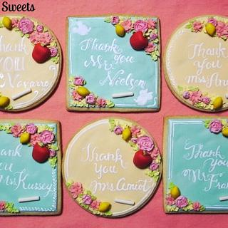Flowers and Fruits Chalkboard Cookies