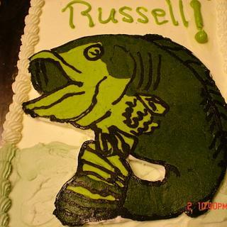 Buttercream transfer of a bass. - Cake by Dana