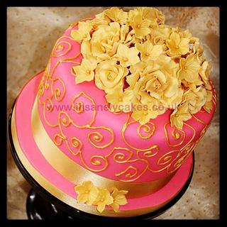 Passionate Pink, Gold and Black Bollywood Wedding Cake and Cupcake Tower!