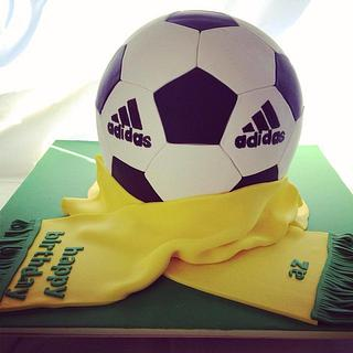 soccer ball cake and scarf