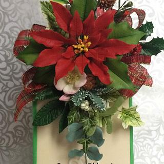 Christmas poincetta spray - Cake by Stacy Coderre