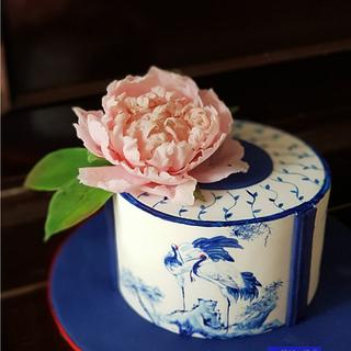 Blue and white Porcelain Cake