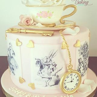 Vintage Alice in Wonderland Cake