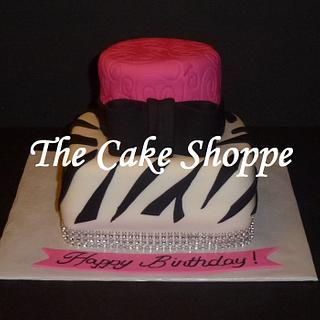 zebra and bling cake