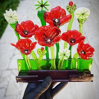 Isomalt poppies