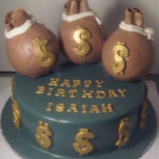 Money Bag Birthday Cake