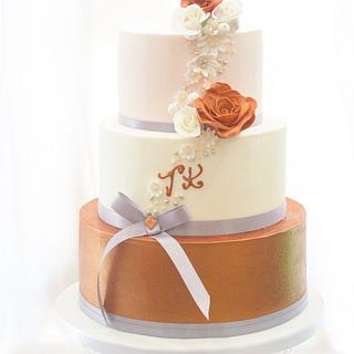 Copper wedding cake - Cake by Kayleigh's cake boutique