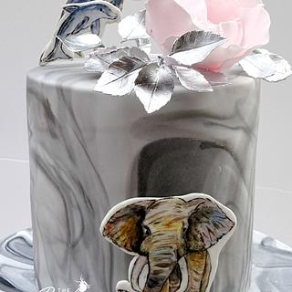 Pink and Silver Birthday Cake (with elephant and dolphins!)