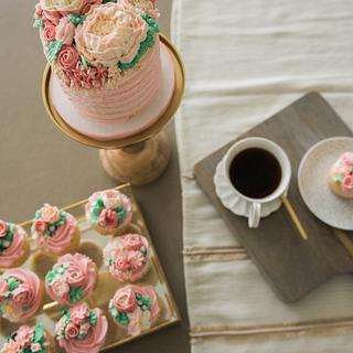 Morning of bridal cake