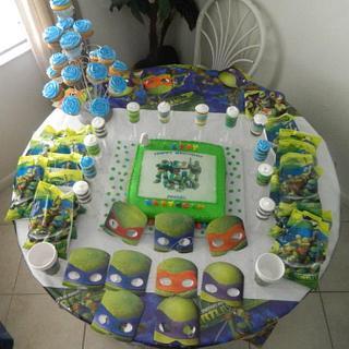 My grandson's 4th birthday, he loves Ninja Turtle