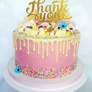 Thank you drip cake