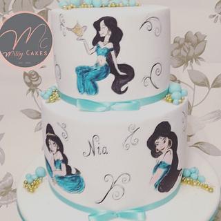 Princess jasmine painted cake
