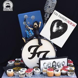 Foo Fighters themed celebration cake