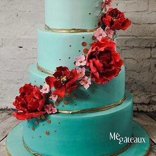 Turquoise and red wedding cake