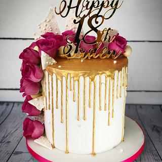 Gold, white and pink drip cake