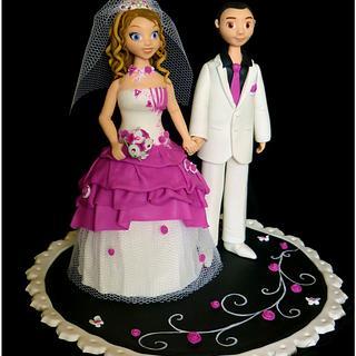 "Wedding cake topper ""white black fuchsia"""