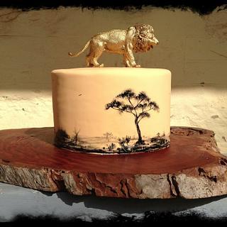 Hand painted safari cake