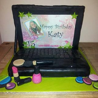 Laptop make up cake for Katy