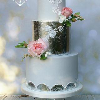 Silver Leaf and Hand Piped Wedding Cake