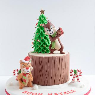 Chip and Dale Christmas Cake