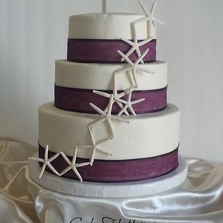 Star Fish Wedding Cake - Cake by Donna Tokazowski- Cake Hatteras, Hatteras N.C.