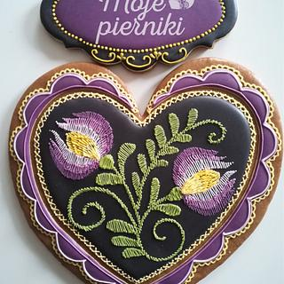 Embroidered, folk heart
