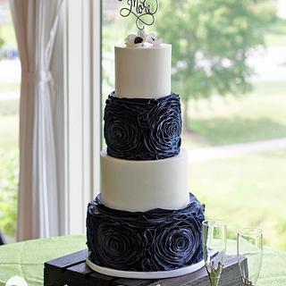 Blue Suede Rosette Wedding Cake