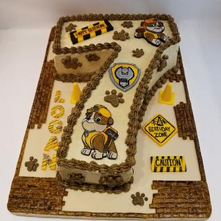 """Rubble"" Paw Patrol"" birthday cake"
