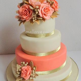 coral peach wedding cake