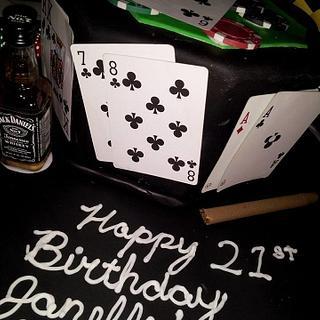 21st bday poker cake