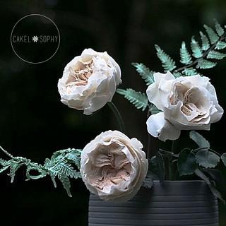 Austin Roses and Fern , Gumpaste.