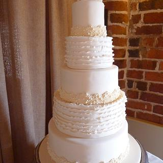 Ivory Pearl and Textured Ruffle Wedding Cake