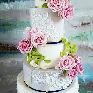 White and grey wedding cake