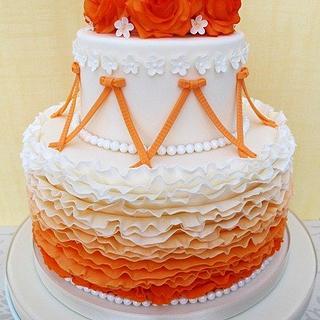 Ruffles and Roses Wedding Cake - Cake by Natasha Shomali