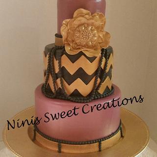 Gold and Black Chevron Cake