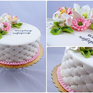 quilted cake with sugar flowers