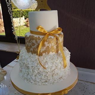 Gold 20th Wedding Anniversary cake