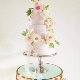 Romantic Blush Pink Wedding cake