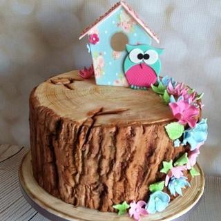Tree Stump Bird House Cake