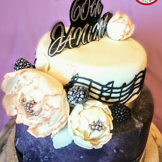 Rose Gold Peonies and Musical Notes birthday cake