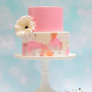 Wafer paper decoupage wedding cake