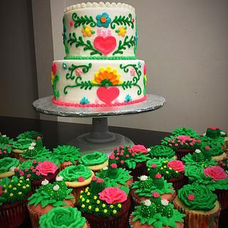 Fiesta themed cake w/ succulent cupcakes