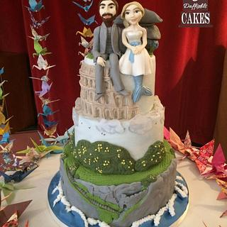 Destination wedding cake  - Cake by Dragons and Daffodils Cakes